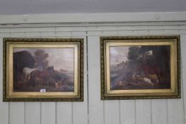 James Wheeler, Farm Animals, pair 19th Century oils on canvas, one signed lower left, 39cm by 54.