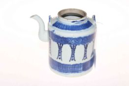 Chinese blue and white teapot.
