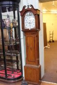 Antique oak, mahogany and chequer inlaid eight day longcase clock having painted arched dial,
