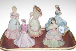 Four Coalport ladies 'Age of Elegance' figures and Beau Monde on Court figure (5).