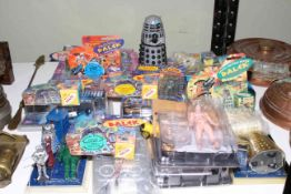 Doctor Who, Dalek and other toys, majority in casing.