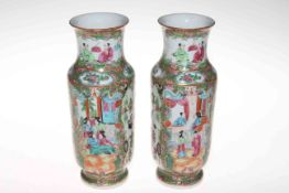 Pair 19th Century Canton vases with figures decoration, 25cm.