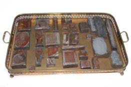 Tray of engraving blocks.