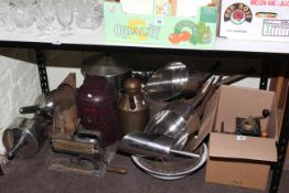 Vintage crimping machine, six graduated grain scoops, vintage pans, coffee grinders,