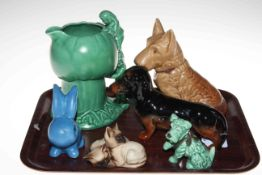 Beswick Dachshund and cat group, two Sylvac dogs, rabbit and pixie jug.