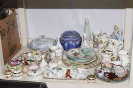 Ringtons caddy, trinket boxes, commemorative china, figurines, collectors plates, etc.