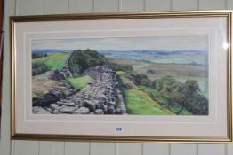 Judith Bromley, Hadrians Wall, pastel, signed lower left, 31cm by 73cm, in gilt glazed frame.