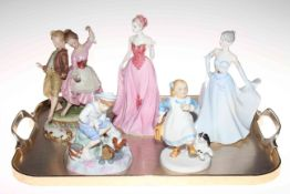 Two Royal Doulton, two Coalport and Capodimonte figures.