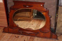 Late 19th Century mahogany overmantel mirror, 79.5cm by 133cm.
