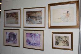 Six framed Russell Flint prints.