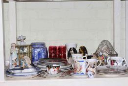 Commemorative china, figurines, collectors, plates, Ringtons caddy, glassware, etc.
