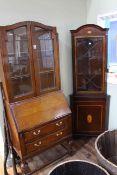 Oak leaded glazed door top bureau bookcase and inlaid mahogany astragal glazed door top standing