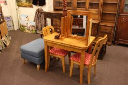 Light wood finish fold top breakfast table and two chairs, twist column plant stand,