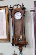 Victorian walnut and ebony cased single weight Vienna wall clock.