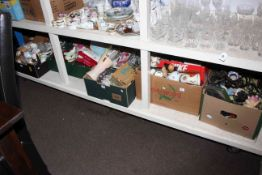Seven boxes of glass and china, costume jewellery, etc.