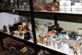 Shelf collection of Sadler and other novelty teapots, ceramic whisky bottles and jugs, decanters,