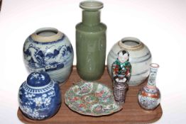 Tray of Chinese ceramics including vases, ginger jar, figure, dish, etc.