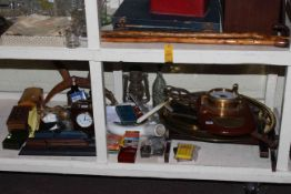 Royal Mariner barometer, playing cards, brass tray tables, clock, cigarette cards,