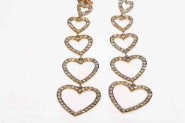 Pair of 18 carat yellow gold and diamond drop earrings,