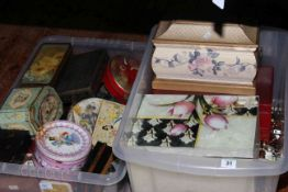Large collection of costume jewellery, tins, jewellery boxes, etc.