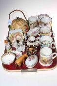 Royal Crown Derby Calibri lighter, two Derby posies dishes, Beswick calf, loving cups,