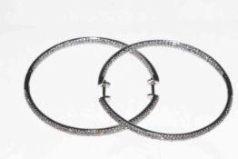 14 carat white gold and diamond cluster design hoop earrings,