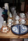 Collection of china and glass including antique tea bowls, child's tea set, celery vase, etc.