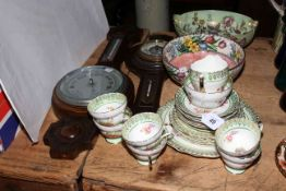 Two Maling lustre bowls, china tea set and two aneroid barometers.