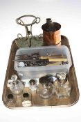 Tray lot with silver mounted bottles, Sheffield pint mug, horse waistcoat buttons, cutlery, etc.