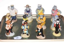 Collection of six Beswick 'Hippos on Holiday', and six feline musical figures (12).