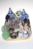 Tray lot with antique glass fly catcher, paperweights, bisque piano dolls, two part Macintyre vases,