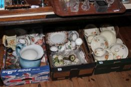 Three boxes of tea and dinner wares including Meakin 'Sunburst', Royal Crown Derby cups and saucers,