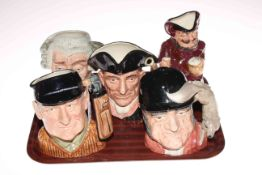 Collection of five Royal Doulton character jugs including Falstaff and Golfer.