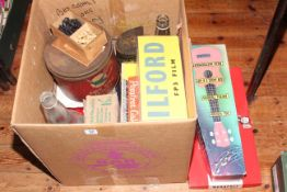 Monopoly, wooden chess pieces in box, child's guitar, tins, boxes, etc.