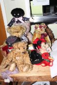 Collection of teddies and soft toys including Merrythought, etc.