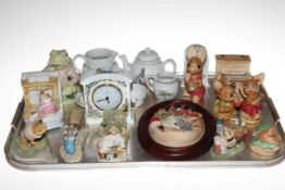 Tray lot with Wedgwood Peter Rabbit tea for one, Pendelfin pieces, Royal Albert Jeremy Fisher, etc.