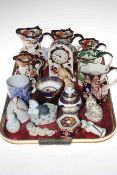 Tray lot with Masons jugs, Royal Crown Derby Tabitha, small Spode vase, etc.