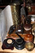 Wood carvings and vase stands, cutlery, etc.