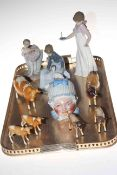 Beswick cows and calves, three Nao figures and baby storage jar.