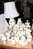 Collection of Royal Albert Country Roses china including table lamp and photograph frames,