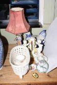 Cherub china lamp base, figure lamp, hen tureen, etc.