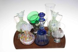 Six pieces of glassware including blue overlay decanter and stopper.