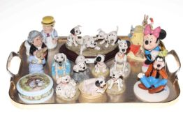 Tray lot with Royal Doulton Disney 101 Dalmations figures, two Mickey Mouse figures,