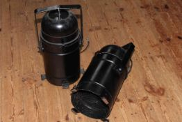 Pair of matt black finish studio lamps.
