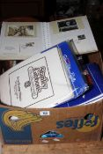 Box of mounted hinged worldwide stamps, PHQ cards in albums, stamp accessories and equipment.