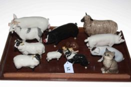 Collection of ten Beswick farm animals and cat and mouse (12).