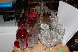 Collection of glasswares including ruby pieces, antique decanter and celery vases, etc.
