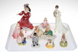 Four Royal Doulton lady figures and five Bunnykins and other figures.