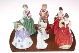 Six Royal Doulton figurines including Helen, Flower of Love, Old Country Roses,