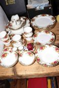 Royal Albert Old Country Roses china including meat plates, gravy boat, dinner plates,